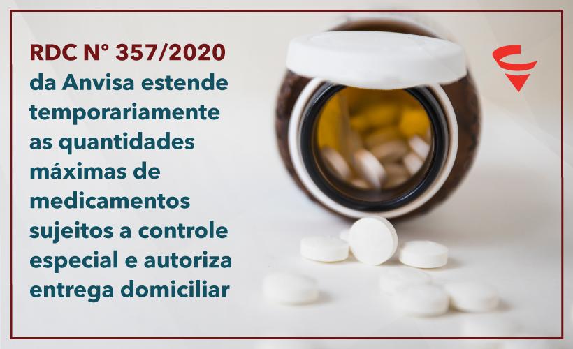 Anvisa estende as quantidades máximas de medicamentos sujeitos a controle especial e autoriza a entrega domiciliar